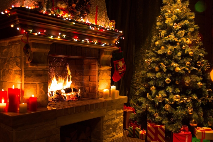 Fondo de pantalla Christmas Tree Fireplace