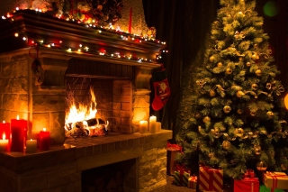 Christmas Tree Fireplace papel de parede para celular para 1600x900