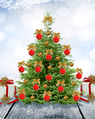 New Year Tree with Snow Background for 240x320