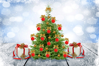 New Year Tree with Snow sfondi gratuiti per cellulari Android, iPhone, iPad e desktop