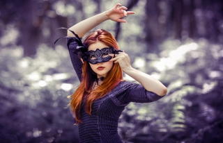 Girl In Mask Background for Android, iPhone and iPad