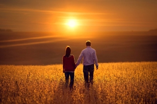 Couple at sunset Background for Android, iPhone and iPad