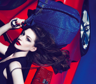 Anne Hathaway For Tods - Obrázkek zdarma pro 128x128