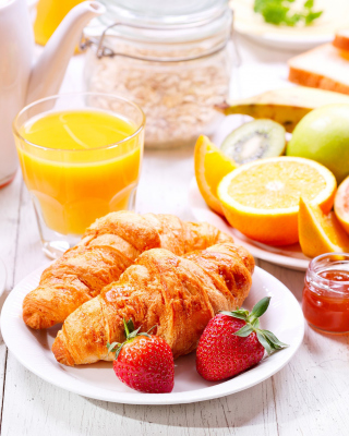 Kostenloses Breakfast with croissants and fruit Wallpaper für 240x432