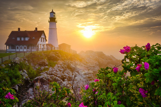 Lighthouse In Morning Mist - Fondos de pantalla gratis