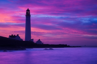 Lighthouse under Purple Sky Picture for Android, iPhone and iPad