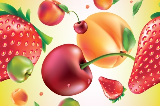 Drawn Fruit and Berries Wallpaper for Android, iPhone and iPad