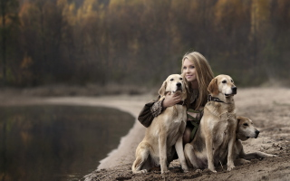 Girl With Dogs Picture for Android, iPhone and iPad