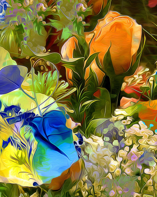 Stylized Summer Drawn Flowers papel de parede para celular para Nokia Asha 310