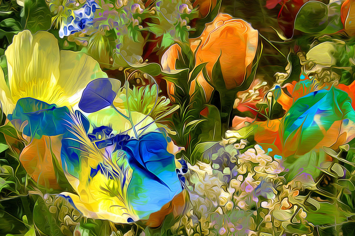 Stylized Summer Drawn Flowers wallpaper