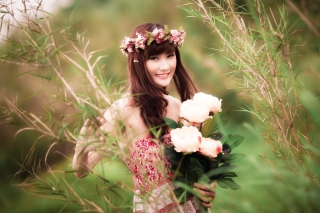 Cute Asian Flower Girl Picture for Android, iPhone and iPad