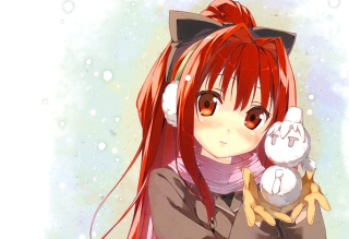 Cute Anime Girl With Snowman - Fondos de pantalla gratis para 1680x1050