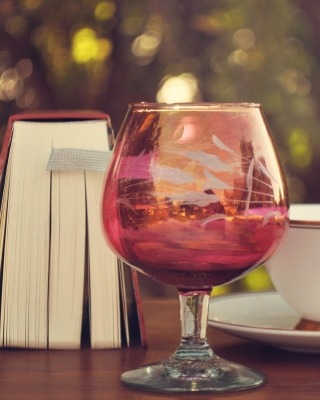 Perfect day with wine and book Wallpaper for Nokia Asha 311