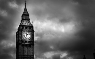 Big Ben Black And White Background for Android, iPhone and iPad