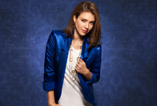 Jessica Alba In Blue Coat Background for Android, iPhone and iPad