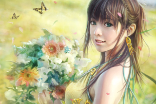 Spring Girl Background for Android, iPhone and iPad