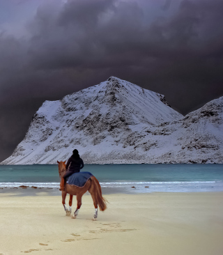 Horse Riding On Beach - Obrázkek zdarma pro iPhone 6 Plus