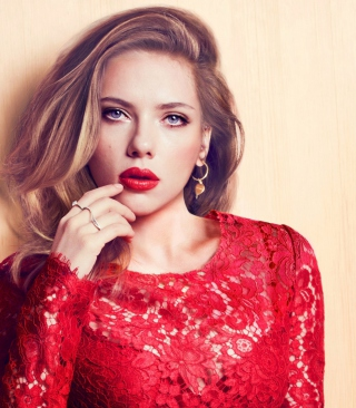 Scarlett Johansson Red Lipstick Red Dress Background for HTC Titan