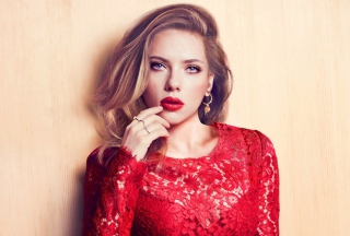 Scarlett Johansson Red Lipstick Red Dress Picture for Android, iPhone and iPad