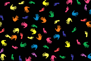 Colorful Hands And Feet Pattern Background for Sony Xperia Tablet S