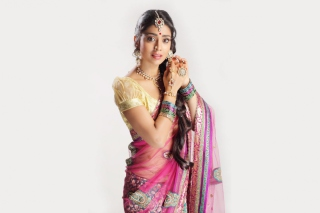 Shriya Saran In Pink Saree sfondi gratuiti per cellulari Android, iPhone, iPad e desktop