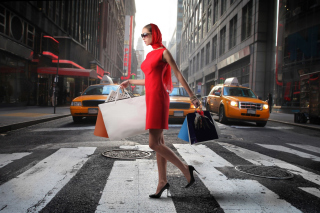 Lady From Boutique In New York Background for Android, iPhone and iPad