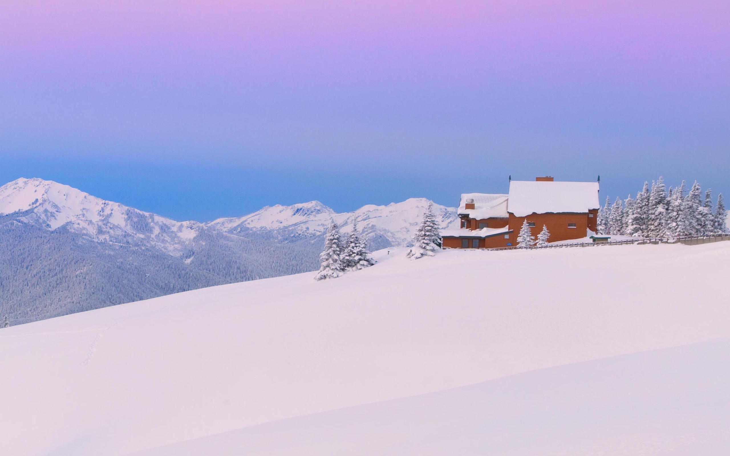 снег гора домики snow mountain houses бесплатно