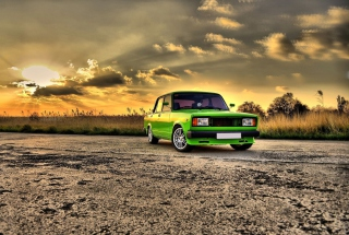 Green Russian Car Lada Picture for Android, iPhone and iPad