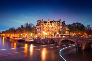 Amsterdam Attraction at Evening Background for Android, iPhone and iPad
