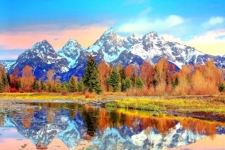 Free Lake with Amazing Mountains in Alpine Region Picture for Android, iPhone and iPad