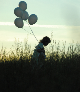 Little Girl With Balloons Background for 768x1280