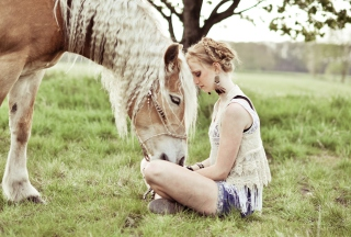 Blonde Girl And Her Horse Picture for Android, iPhone and iPad