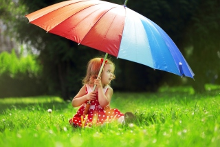 Little Girl With Big Rainbow Umbrella - Obrázkek zdarma pro 640x480