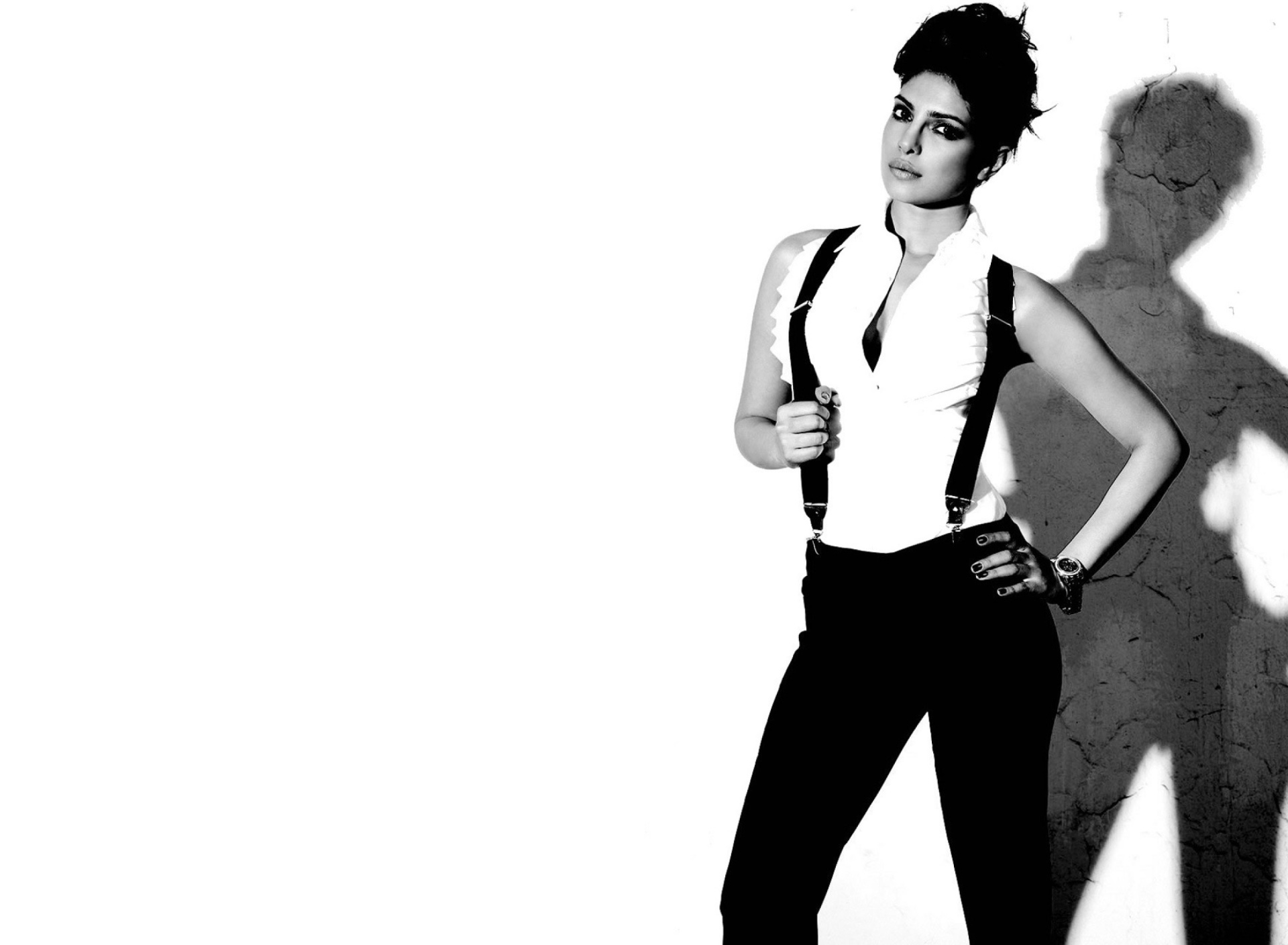 Screenshot №1 pro téma Priyanka Chopra Black and White 1920x1408