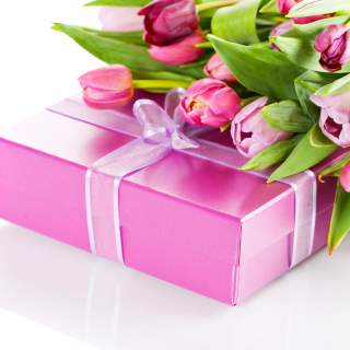 Free Pink Tulips and Gift Picture for 208x208