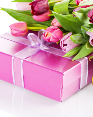 Pink Tulips and Gift Picture for 240x320