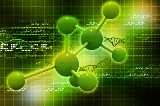 Free Metallic Green Molecules Picture for 1366x768