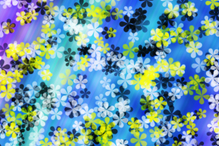 Yellow And Blue Flowers Pattern Background for Android, iPhone and iPad