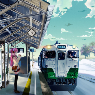 Anime Girl on Snow Train Stations - Obrázkek zdarma pro iPad