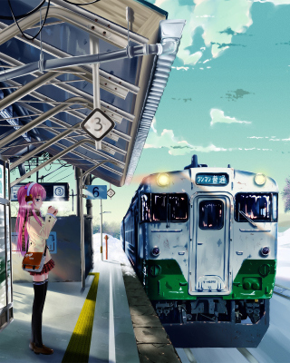 Anime Girl on Snow Train Stations - Obrázkek zdarma pro iPhone 6