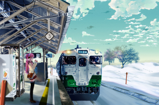 Anime Girl on Snow Train Stations Picture for Android, iPhone and iPad