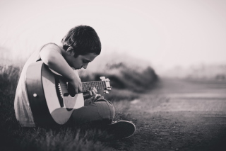 Boy With Guitar Picture for Android, iPhone and iPad