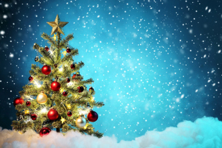 New Year Tree and Snow Background for Android, iPhone and iPad