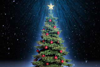 Classic Christmas Tree With Star On Top Background for Android, iPhone and iPad