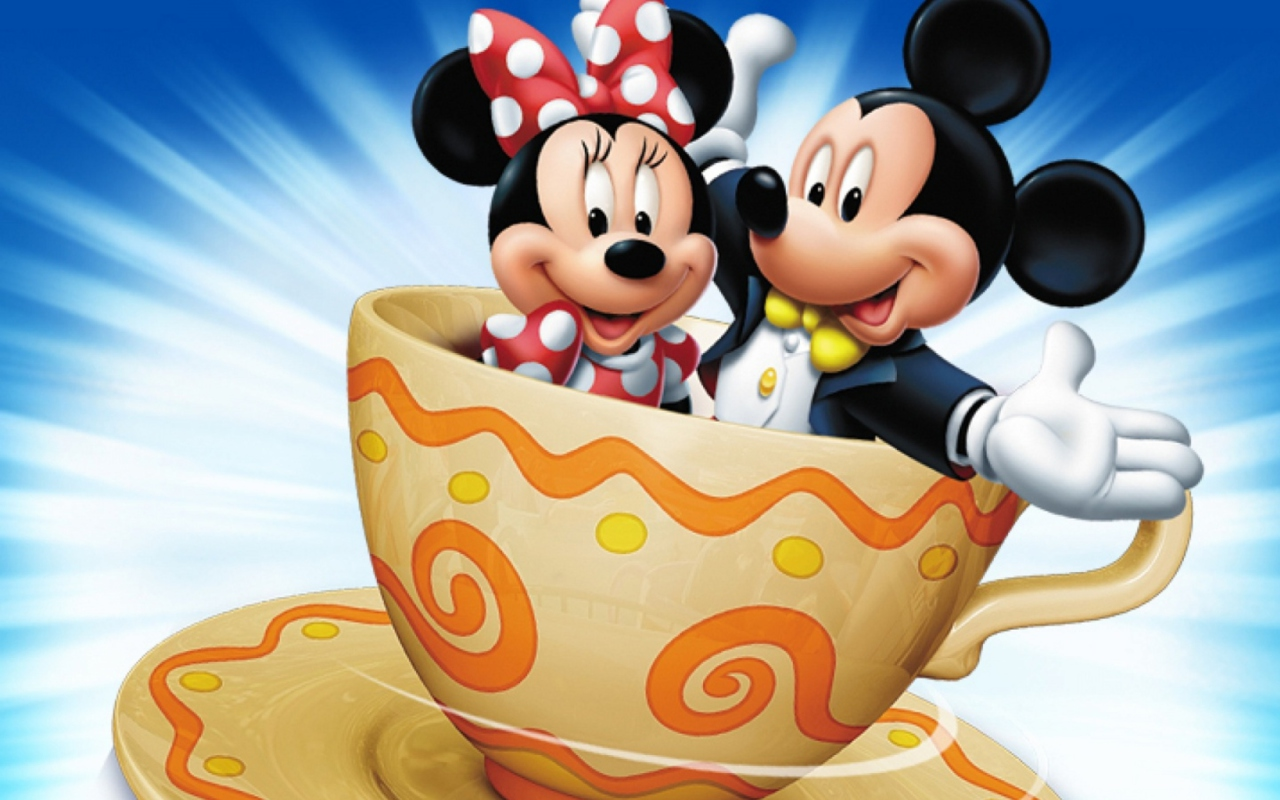 Screenshot №1 pro téma Mickey And Minnie Mouse In Cup 1280x800