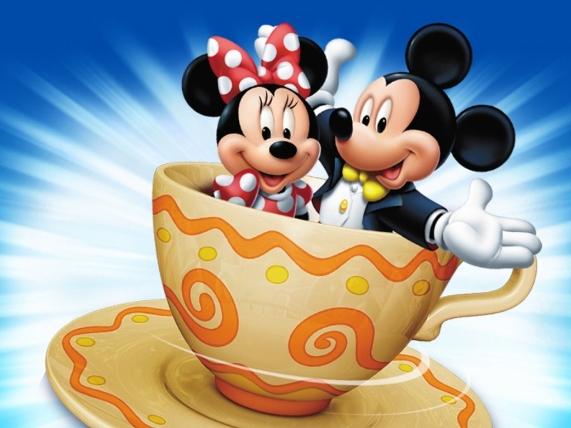 Screenshot №1 pro téma Mickey And Minnie Mouse In Cup 800x600