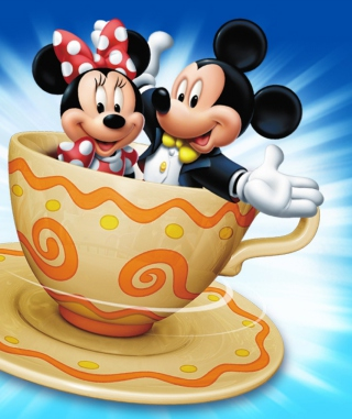 Mickey And Minnie Mouse In Cup Background for 176x220