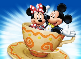 Mickey And Minnie Mouse In Cup Background for Android, iPhone and iPad