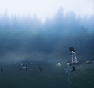 Child Feeding Ducks In Misty Morning - Obrázkek zdarma pro 320x320