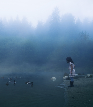 Child Feeding Ducks In Misty Morning - Obrázkek zdarma pro 240x400